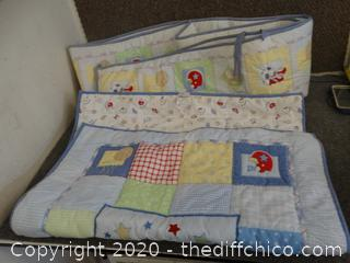 Crib Liner & Matching Small Blanket - Like New