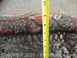 Vintage Iron Footstool w/ Padded Seat