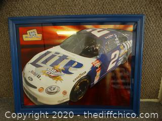Miller Light Racing Car Picture in Frame