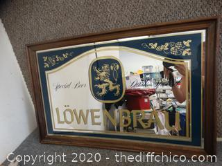 Lowenbrau Special Beer Mirror in Frame