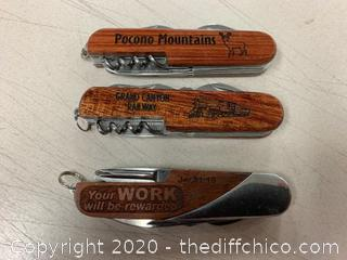 3 Engraved Wooden Multi-Tool Knives (J21)