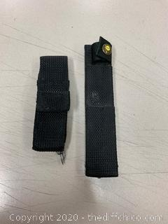 Two Black Nylon Knife Sheaths (J52)
