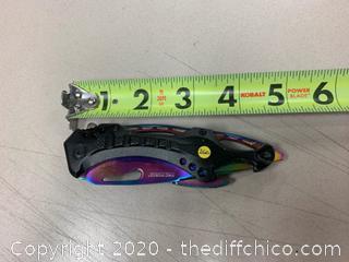 Tac-Force Black With Rainbow Blade Folding Knife (J260)