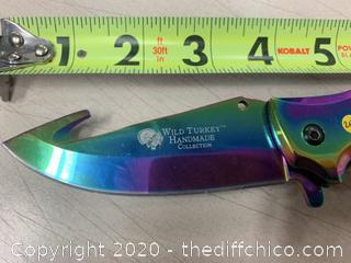 Wild Turkey Handmade Rainbow Folding Knife (J263)