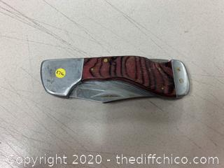 Wood Grain/Chrome Folding Pocket Knife (J276)