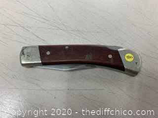 Wood And Chrome Folding Pocket Knife (J330)