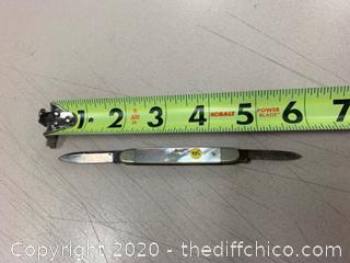 Ivory Colored Folding Pocket Knife (J335)