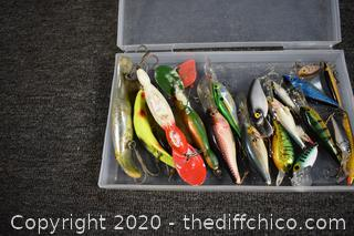 Lot of Fishing Lures and Containers