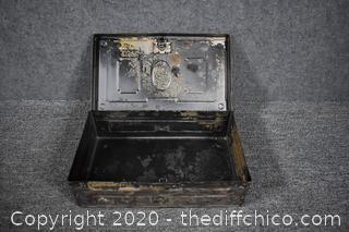Antique Steel Lock Box-no key