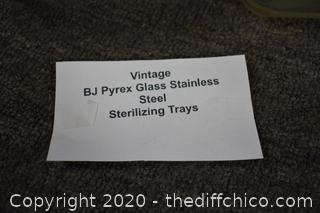 Vintage Pyrex Glass Stainless Steel Sterilizing Tray