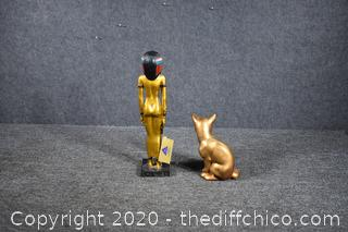 Egyptian Statue and Cat