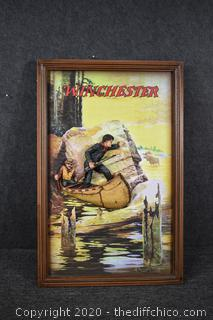 Rare Winchester 2D Poster Ad-Man and Guide in Canoe by Elwell