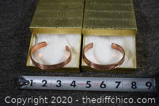 2 Solid Copper Bracelets