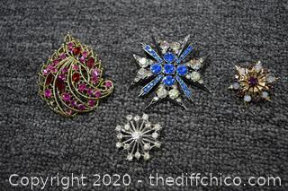 4 Costume Jewelry Pins