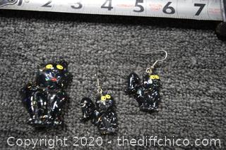 Black Cat Earrings and Pin