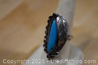 Silver and Turquoise Ring Size 9