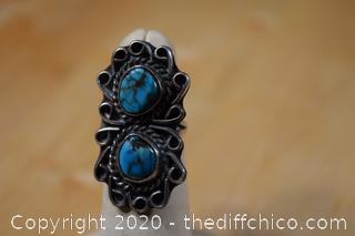 Silver and Turquoise Ring Size 5 1/2