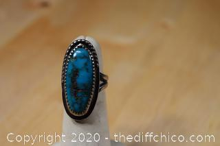 Silver and Turquoise Ring Size 4 1/2