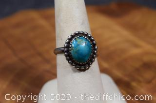 Silver and Turquoise Ring Size 8 1/2