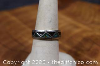 Silver, Turquoise and Onyx Ring Size 8