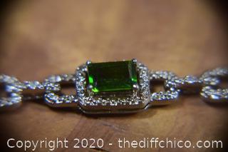 Sterling Silver Bracelet w/Green Stones