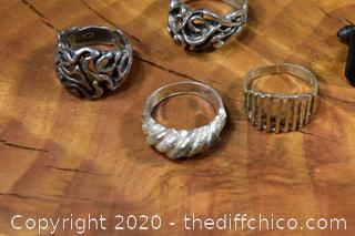 Sterling Silver 4 Rings and 1 Cufflink