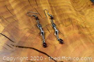 Sterling Silver and Garnet Earrings