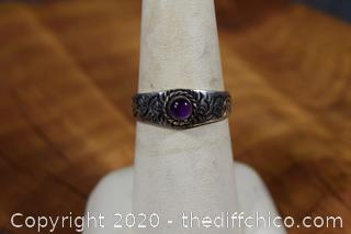 Amethyst Earrings and Ring Size 7 1/2