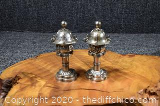 Sterling Silver Oriental Salt and Pepper Shakers .970