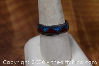 Silver Turquoise and Coral Ring Size 9