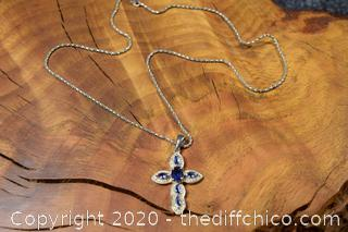 Amethyst Cross Silver Necklace and Chain