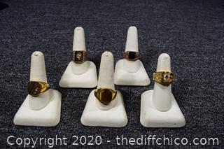 5 Men's Costume Jewelry Rings