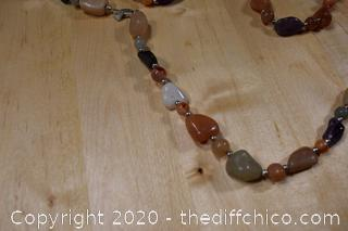 Semi Precious Stone Necklace and Silver 925