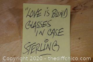 Glasses in Sterling Case Love is Blind