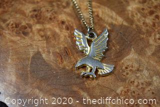 Gold Plate Eagle and 20in long Chain