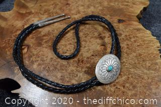 Silver and Turquoise Bolo Tie