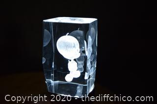 3D Laser Etched Crystal - 2in x 2in x 3in