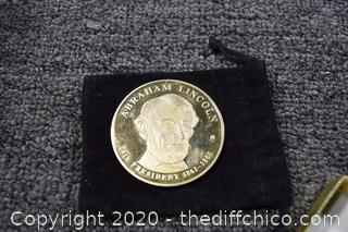 Lincoln Dollar Coin 24k Gold Layered