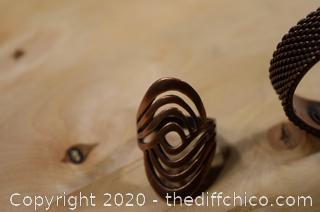 Solid Copper Bracelet and Ring - size 8 1/2