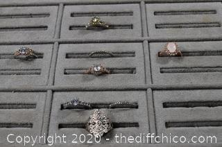 8 Costume Jewelry Rings
