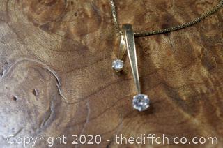 14k Gold Pendent w/2 Diamonds - 16in 14k Gold Chain