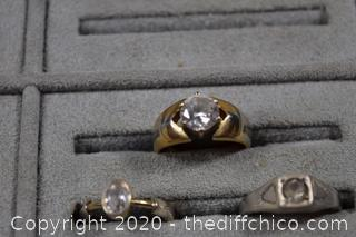 3 Costume Jewelry Rings