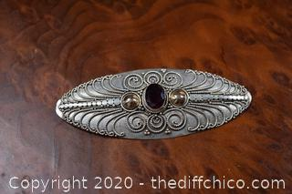 Sterling Silver Pin w/Garnet Stone