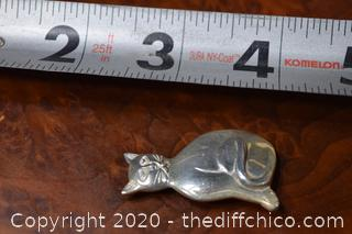 Sterling Silver Cat Pin