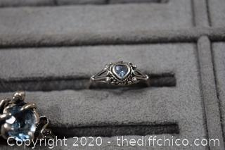 2 Sterling Silver Rings w/Aquamarine Stone-heart ring size 8 - other size 7 1/4