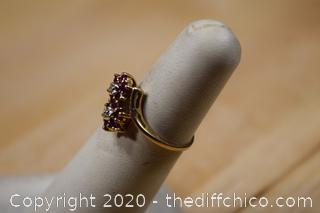 10k Gold Ring w/2 Diamonds plus 10 Rubies