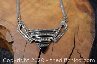 925 Art Decom Necklace w/Onyx