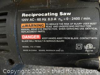 Craftsman 8amp Reciprocating Saw w/bag