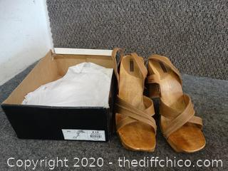 Camel Leather Heels 8.5