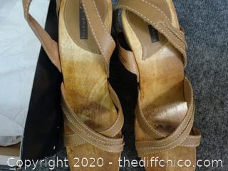 Camel Leather Heels 8.5